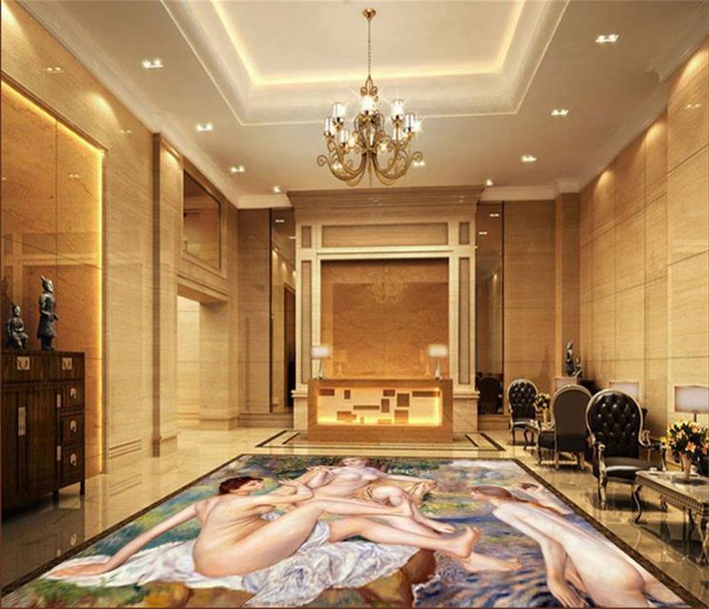 3d pvc flooring custom photo Self-adhesive wall sticker Bathing Woman floor decoration painting 3d wall room murals wallpaper