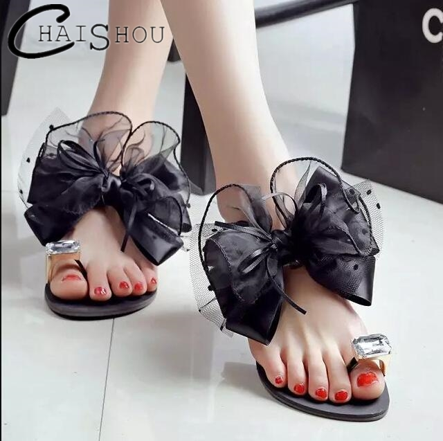 2018 New Women Sandals Plus size 42 Ladies Summer bowknot Slippers Shoes flat Sandals Fashion Rhinestone summer Women shoes L047 2018 new summer women sandals shoes fashion comfortable girls sandals footwear flat sexy causal ladies solid women shoes est1009