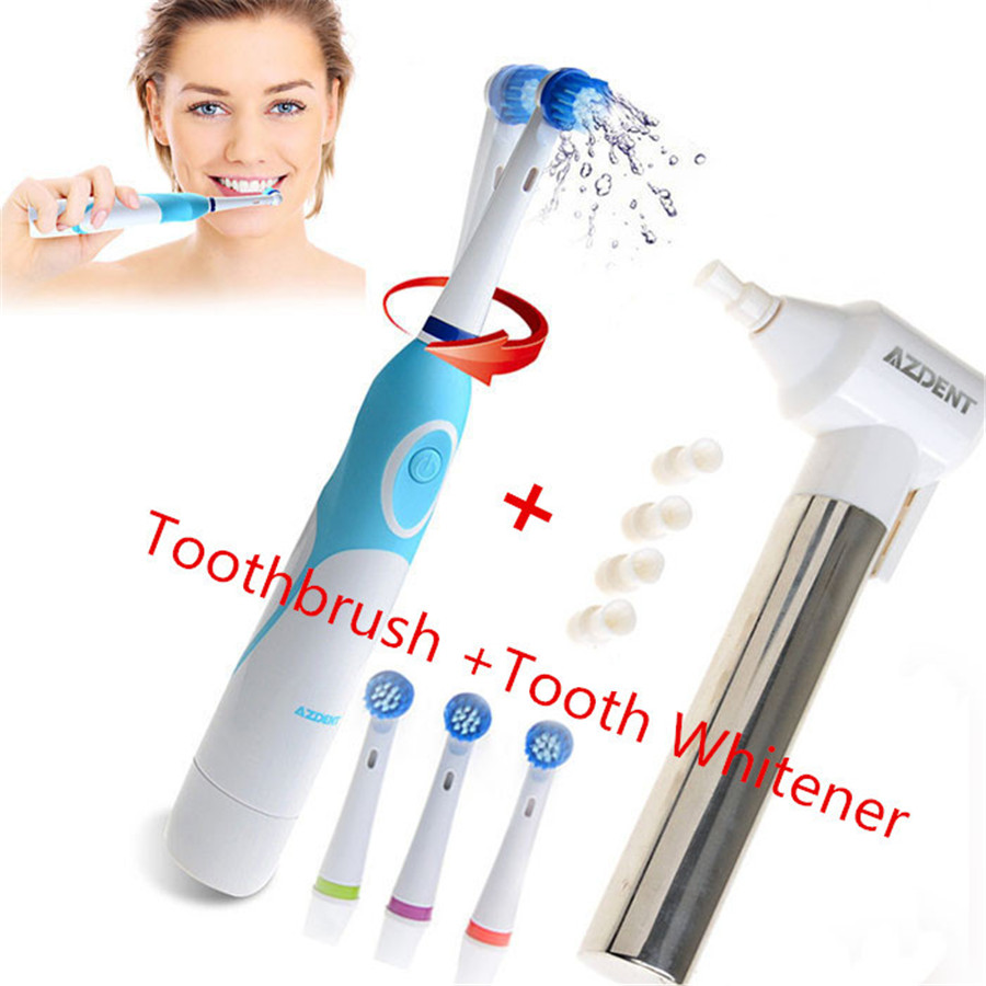 1 Set AZDENT Electric Toothbrush with 4 Brush Heads Tooth Whitener Teeth Burnisher Polisher Oral Care