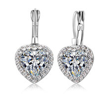 Wholesale 925 Sterling Silver Earring Promotion Shiny Cubic Zirconia Crystal Piercing Earrings Brincos Ear Jewelry