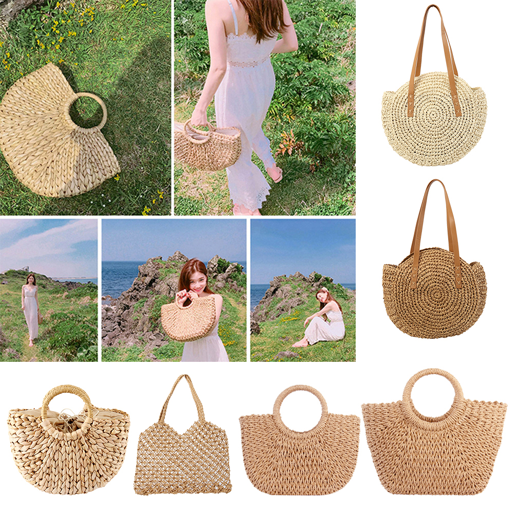 Straw Bag Women's Summer Rattan Bag Handmade Woven Circle Bohemia Beach Handbag Wicker Bag bolso mimbre(China)