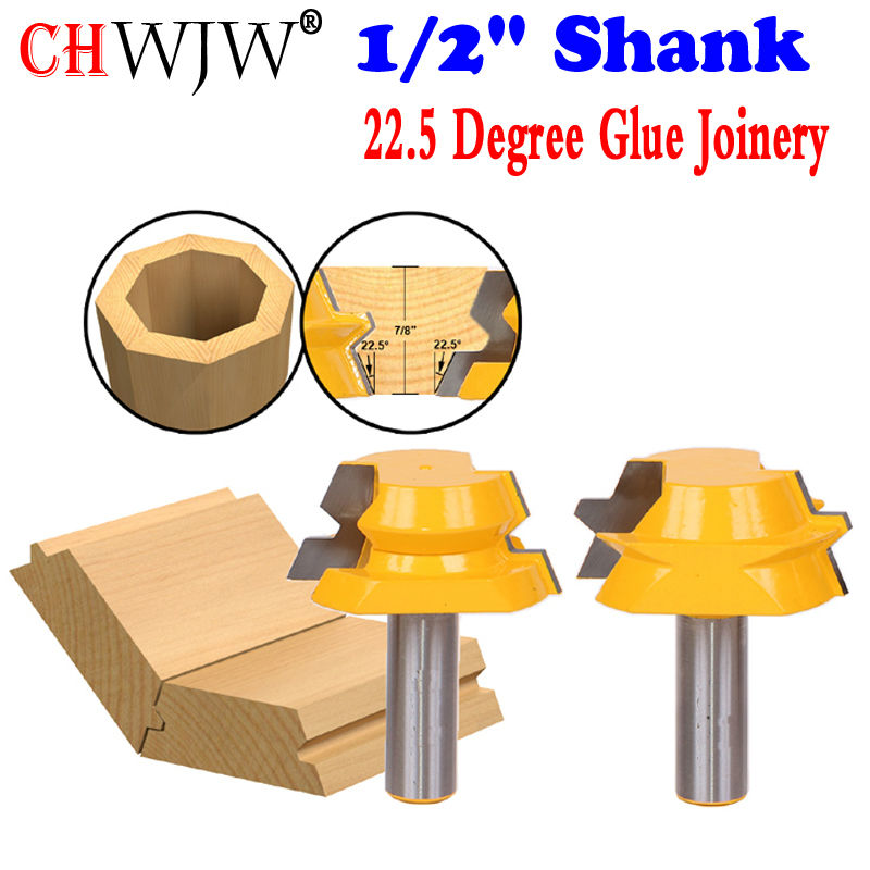 2pc 1/2 Shank Lock Miter Router 22.5 Degree Glue Joinery Router Bit Set - Woodworking cutter Tenon Cutter for Woodworking Tool high grade carbide alloy 1 2 shank 2 1 4 dia bottom cleaning router bit woodworking milling cutter for mdf wood 55mm mayitr