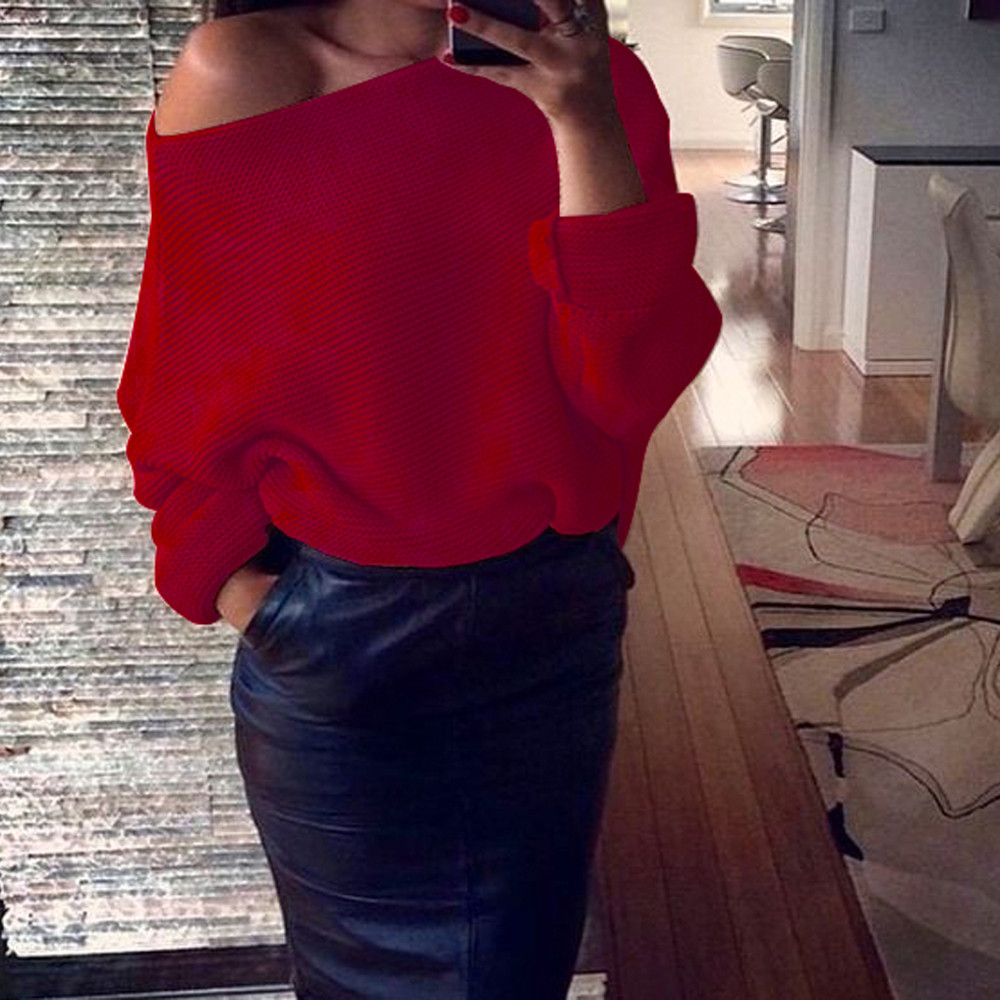2017 FASHION Womens Off Shoulder Chunky Knit Knitted Oversize ...