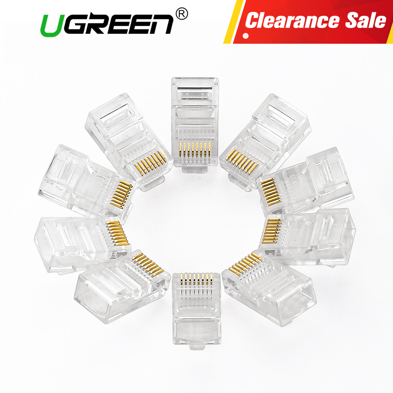 Ugreen Cat5 RJ45 Connector Cat5E 8P8C Modular Ethernet Cable Head Plug Gold-plated Cat 5 Crimp Network RJ 45 Connector imc hot 10 pcs rj45 8p8c double ports female plug telephone connector