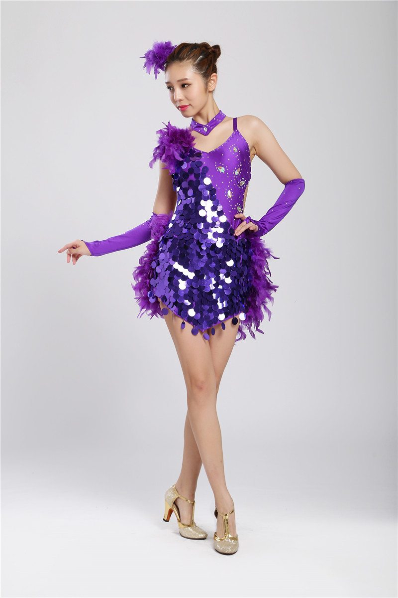 Girl Latin Dance Dresses For Sequin/feather style Cha Cha/Rumba/Samba/Ballroom/Tango Dance Clothing Kids Dance Costume