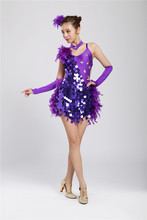 Vestidos de baile latino para niña con lentejuelas/Estilo de pluma Cha/Rumba/Samba/salón de baile/Tango ropa de baile para niños