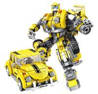 New deformation bee transform car Building Block Educational DIY Construction Brick Match children gift kids toys legoings