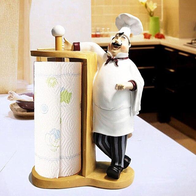 Creativa cocina Chef titular de tejido rollo de papel higiénico rack ...