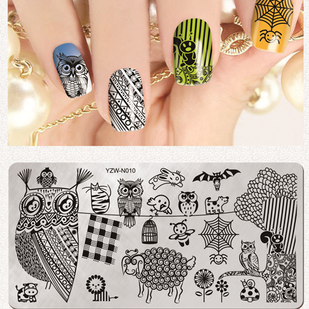 Animal Owl Nail Stamping Plate Stamp Plate Floral Nail Design Nail