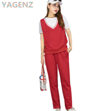 YAGENZ Summer Women's Sportswear Suit 2017 Fashion Casual Cotton Short Sleeve+Pants 3 Piece set Runway Sportswear Clothing Sets