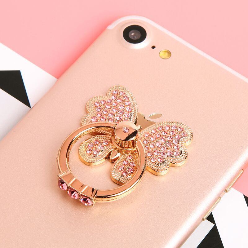 Diamond Butterfly Finger Ring Mobile Phone Smartphone Car Mount Bracket Stand Holder For IPhone Samsung Smart Phone Ring