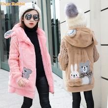 Lovely rabbit and little bear Winter Girls Faux Fur Fleece Coat Warm Jacket Xmas Snowsuit Outerwear Children kids Clothes 711