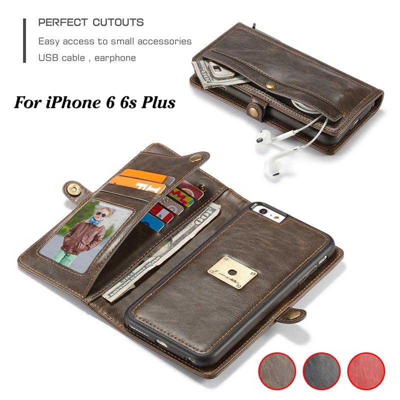 Caseme чехол для телефона iPhone 6 6S плюс Роскошный Ретро съемный кожаный флип Бумажник слот для карт памяти 2 в 1 назад чехол для iPhone 6 plus