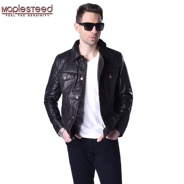 b4d1fd84a38 Factory Men s Leather Jacket Genuine Soft Sheepskin Jackets Bomber Brown Black  Male Leather Jacket Men Leather Coat Autumn ZH045