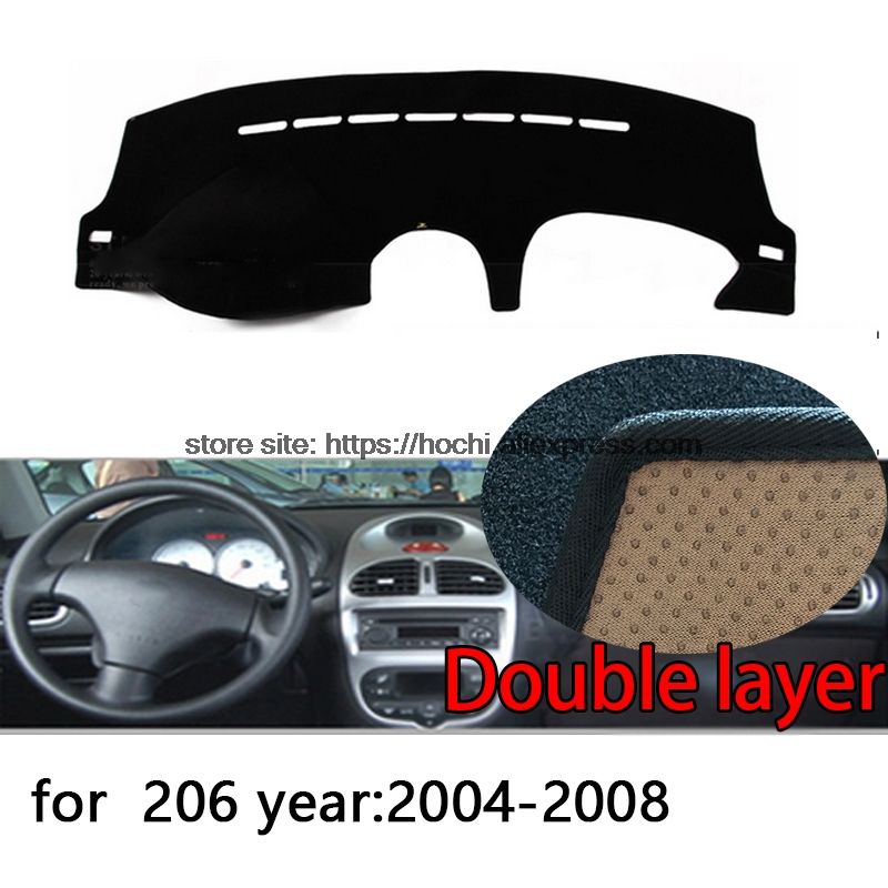 For Peugeot 206 207 307 Double layer Silica gel Car Dashboard Pad Instrument Platform Desk Avoid Light Mats Cover Sticker for toyota crown 2004 2016 double layer silica gel car dashboard pad instrument platform desk avoid light mats cover sticker