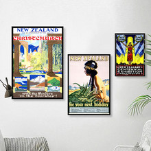 Christchurch Tourism Pop Art New Zealand NZ Vintage Retro Canvas Painting Frame Poster DIY Wall Home Posters Home Decor Gift(China)