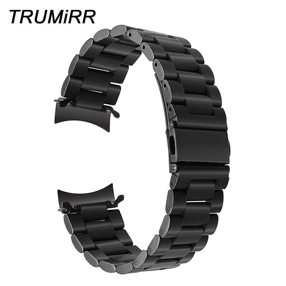 Correa de reloj de acero inoxidable de 22mm para Samsung Gear S3 Classic Frontier pulsera de eslabones de correa negra de plata