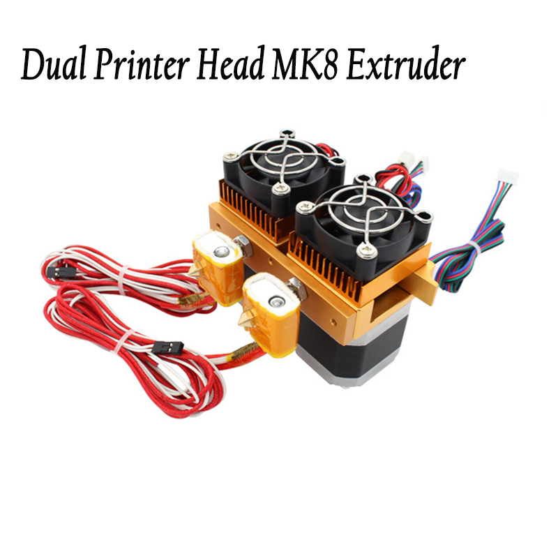 New Upgrade Makerbot mental MK8 12V Dual Head Nozzles 0 4MM Extruder Double Print Head For
