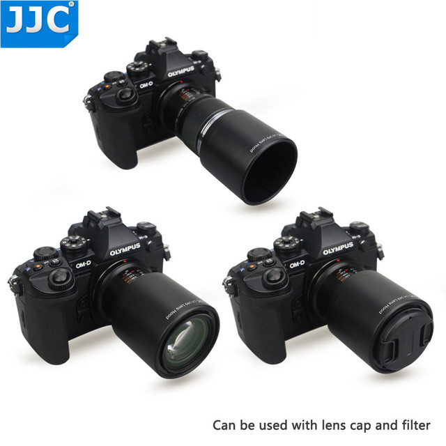 JJC ABS adanmış Lens Hood gölge koruyucu Olympus M.ZUIKO dijital ED 60mm f2.8 makro Lens yerine Olympus LH 49 siyah