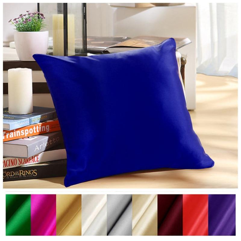 Free Shipping 100% Pure Silk Pillowcase Zipper Pillowcase Pillow Case Cover Silk Throw Pillow Silk Cushion Solid Multicolor