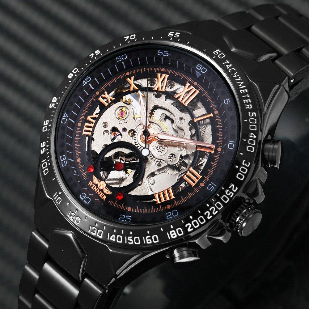 Men Watch Clock Skeleton Dial WINNER Rose-Gold Stainless-Steel Mechanical Automatic Roman