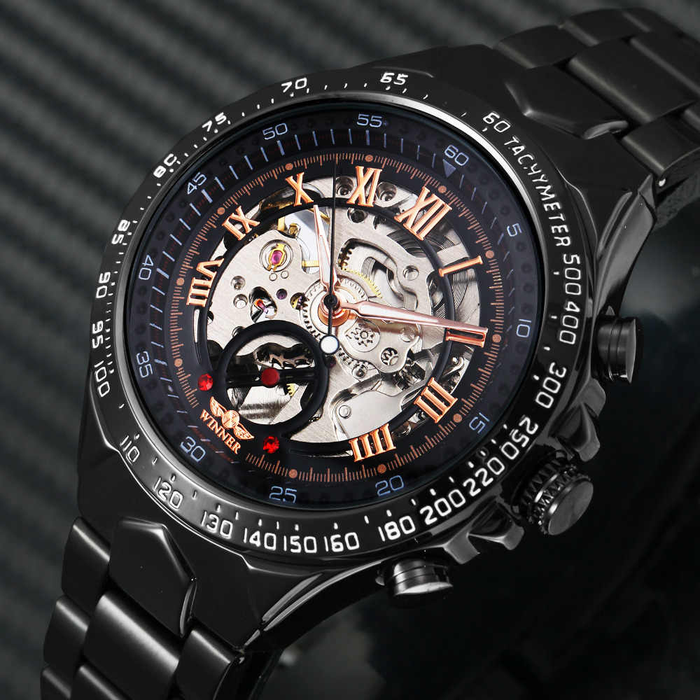 402e27cbaad 2018 Black Rose Gold WINNER Men Watch Cool Mechanical Automatic Wristwatch Stainless  Steel Band Male Clock
