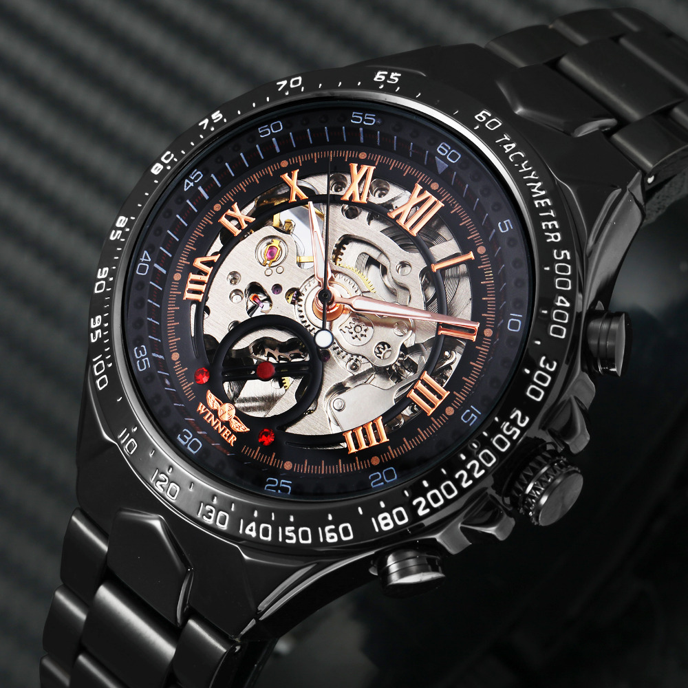 2018 Black Rose Gold WINNER Men Watch Cool Mechanical Automatic - Men's Watches