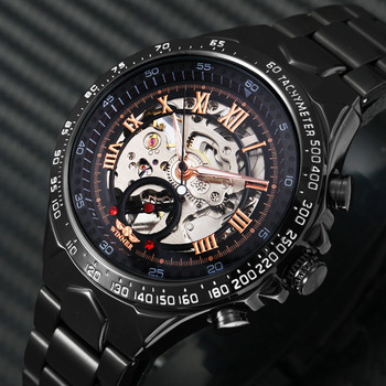 2019 Black Rose Gold WINNER Men Watch Cool Mechanical Automatic Wristwatch Stainless Steel Band Male Clock Skeleton Roman Dial jargar jag6055m4s2 new men automatic fashion dress wristwatch silver color stainless steel band free shipping