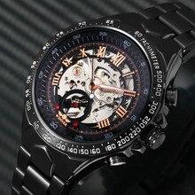 2019 ブラックローズゴールド winner 男性時計クールな機械式自動腕時計ステンレス鋼男性時計スケルトンローマダイヤル