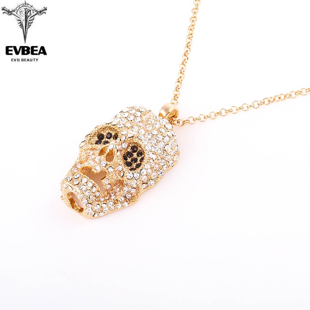 Punk Rock Rhinestone Skull Necklace Collier Homme Femme Max Colar Masculino Neckless Men Chunky Ethnic Women Neclace