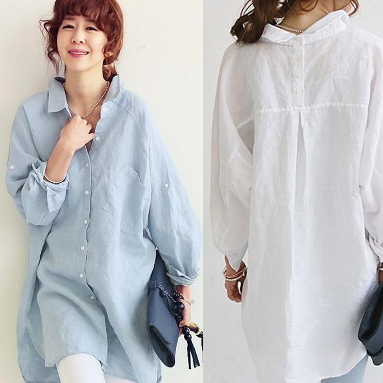 Autumn cotton linen women shirts solid color loose long for Long linen shirts for womens