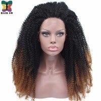 SAÇ SW Uzun Spiral Kıvırcık Sentetik Dantel Ön Peruk Kapalı Afro Işık Auburn Ombre Kahverengi 180% Yoğunluk Tutkalsız Afro Için kadınlar