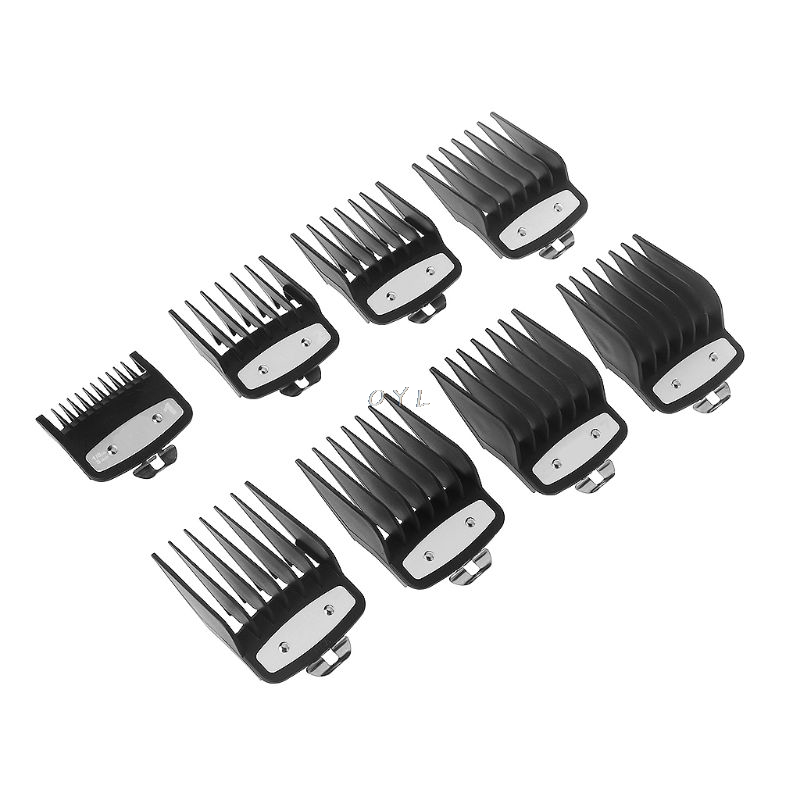 8pcs Professional Cutting Guide Comb For Wahl With Metal Clip  3171/500 1/8in To 1in Set