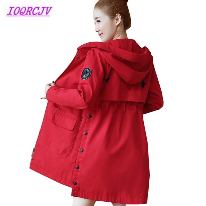 New Women Windbreaker Spring Autumn Medium length Hooded coat Casual Self-cultivation Long sleeve red   Trench   coat IOQRCJV B031