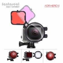 Fantaseal 3in1 Gopro Hero 5 погружение объектива фильтр, красный и пурпурный подводный Цвет коррекция фильтр + 16X макрообъектив фильтр Combo