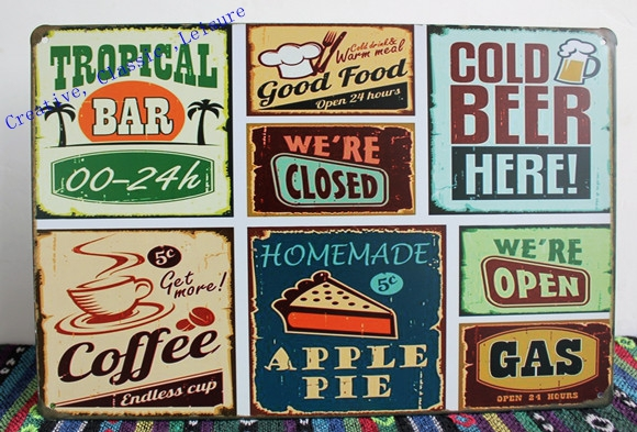 Retro wall decor free shipping vintage bar metal tin signs bar pub home wall decor