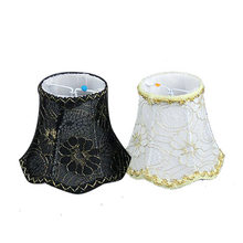 13.5cm Elegant retro lace chandelier lampshade, Gold edges flower white black fabric lamp shade wall lamp, Clip On(China)