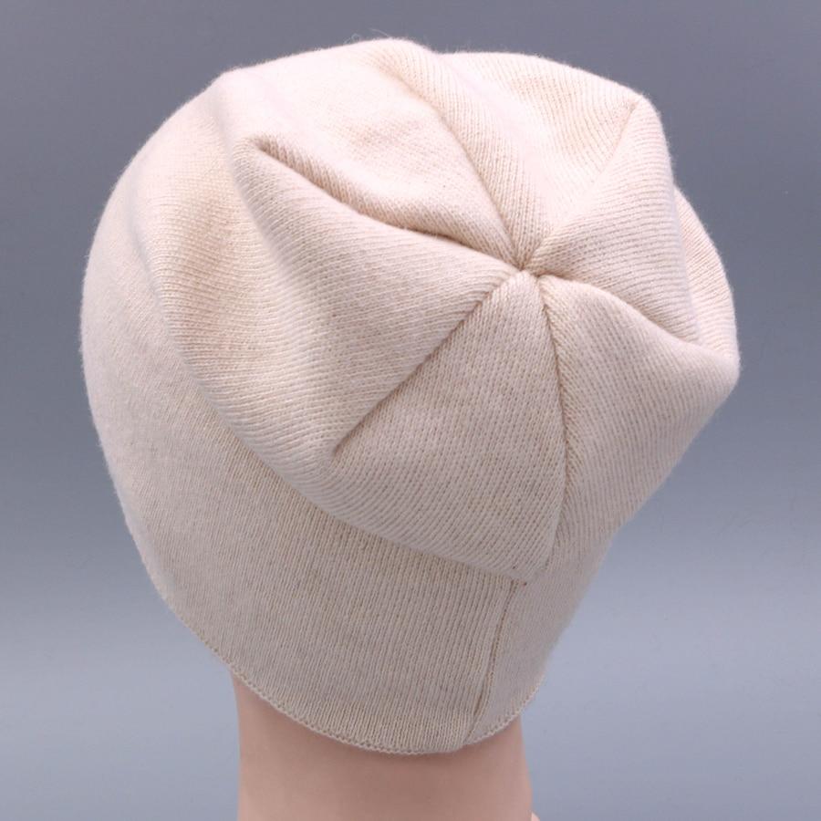 2018 Knitted 100%Wool Beanie Female Fashion Skullies Casual Outdoor Mask  Ski Caps Warm Hats f5395735aebb