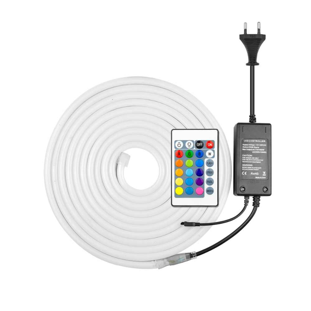 Цветная (RGB) светодиодный неоновый светильник знак 220V Светодиодные ленты неоновая лампа с адаптер для розеток европейского стандарта, 1/2/3/4/5/6/7/8 м клейкие ленты светильник светодиод напольный светильник Инж