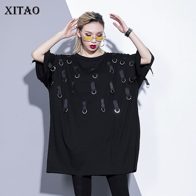 [XITAO] 2019 New Arrival Spring Summer Tee Europe Casual Women Short Sleeve Long Pullover Solid Color O-neck T-shirt  WBB2874