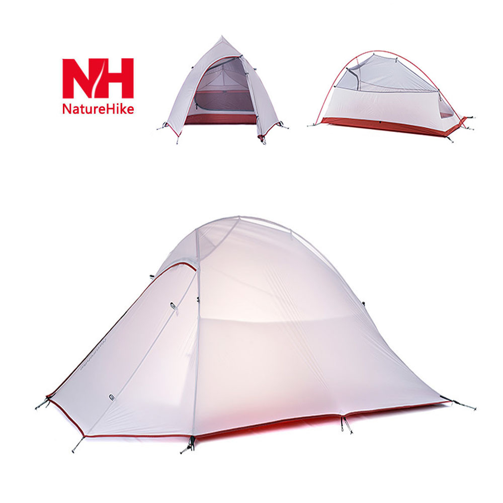 Naturehike 20D professional 2 Person Camping Tent 3000m waterproof index 4 seasons Tent Double Layer Soft Silicone high quality outdoor 2 person camping tent double layer aluminum rod ultralight tent with snow skirt oneroad windsnow 2 plus