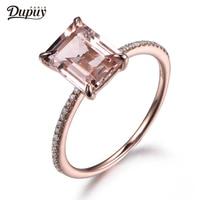 DUPUY 7x9mm Morganite Ring 14K Rose Gold Ring Emerald Cut Morganite Promise Ring*Anniversary Ring Wedding Bands F0006MO