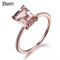 DUPUY 7x9mm Morganite Ring 14K Rose Gold Ring Emerald Cut Morganite Promise Ring*Anniversary Ring Wedding Bands F0006MO