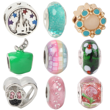 Fits European Pandora Charm Bracelets New Apple Flower  Mickey 925 Silver Murano Glass Colorful Rainbow DIY Jewelry Bead