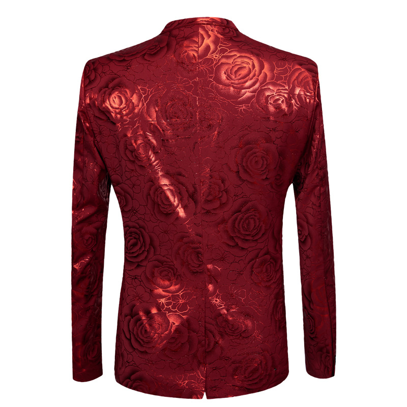Rode Bloemen Bronzing 2 stuk Pakken Met Broek 2018 Brand Nieuwe Single Breasted Tuxedo Suit Mannen Wedding Party Stage Kostuum homme-in Pakken van Mannenkleding op  Groep 3