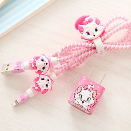 1 Set Cartoon USB Cable Protector Cable Winder Charger stickers Cable Wire Organizer TPU Spiral Cord protector For iphone 5 6 7