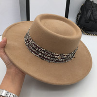 The new wool Concave and convex flat brim hat is color of camel's hair joker fashion big eaves temperament little hat Fedoras