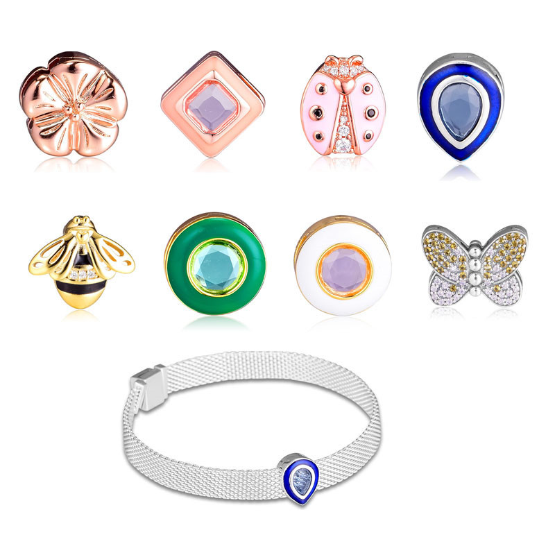 Fit Pandora Reflexions Bracelets 925 Silver Butterfly Blue Droplet Pink Ladybird Flower Square Queen Bee Circle Clip Charm BeadsFit Pandora Reflexions Bracelets 925 Silver Butterfly Blue Droplet Pink Ladybird Flower Square Queen Bee Circle Clip Charm Beads