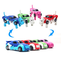 HOT 4 Colors 14CM Cool Automatic Transform Dog Car Vehicle Clockwork Wind Up Toy For Children