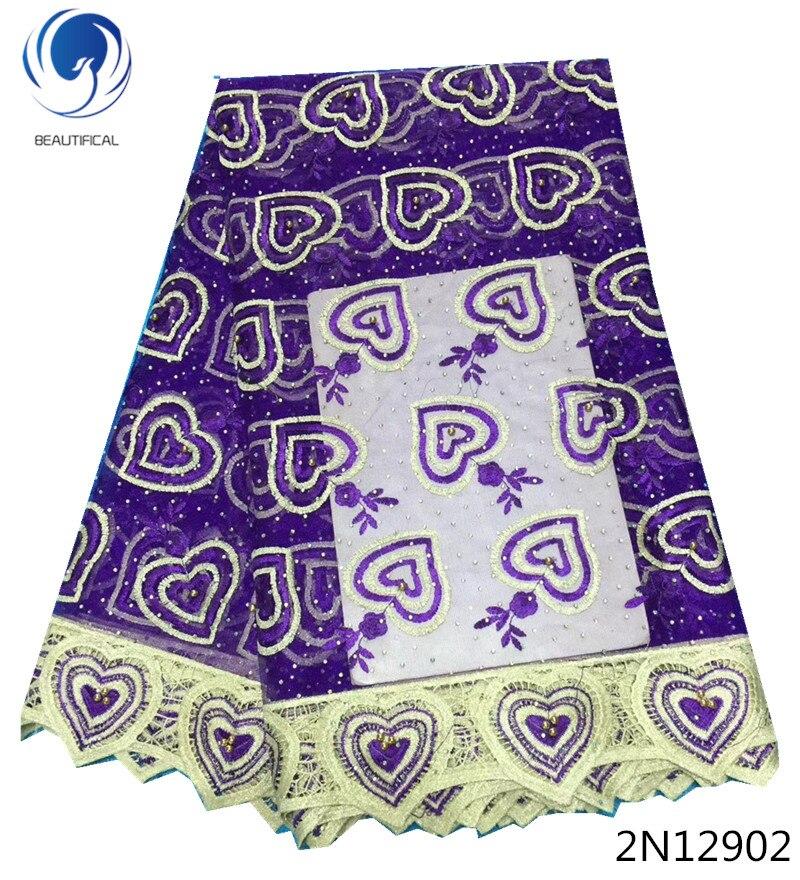 Beautifical rhinestone lace designs nigerian beads fabric 2018 high quality net cord fabrics with stones 2N129